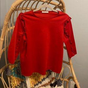 Zara Red 3 quarter length blouse